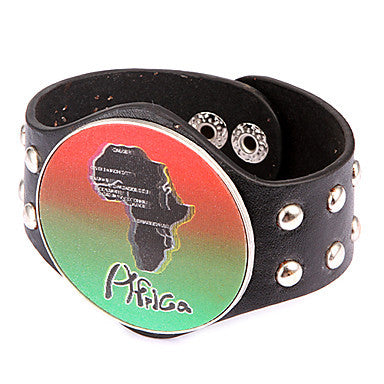 Punk Style Round Africa Map Plate Alloy Leather Bracelet(1 Pc)