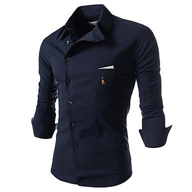 Men's Leisure Inclined Buckle Personality Long Sleeve Shirt