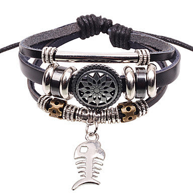 Men's Multilayer Fish Brown Leather Wrap Bracelet