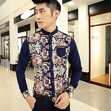 Men's Korean Style Slim Floral Long-Sleeved Shirt