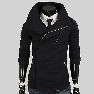 Men¡¯s Special Lapel Inclined Zipper Knitted Casual Long Sleeve Coat