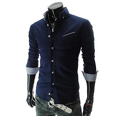 Men's long-sleeved shirt pocket design oblique