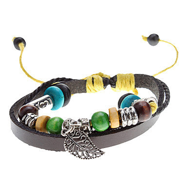 Unisex Leaf Fabric Leather Bracelet