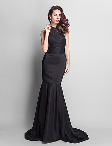 Trumpet/Mermaid Jewel Court Train Stretch Satin And Lace Evening Dress