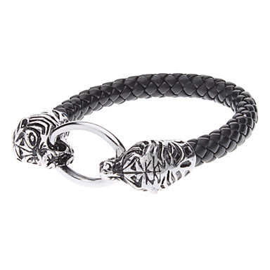 Double Leopard Head Alloy Leather Bracelet