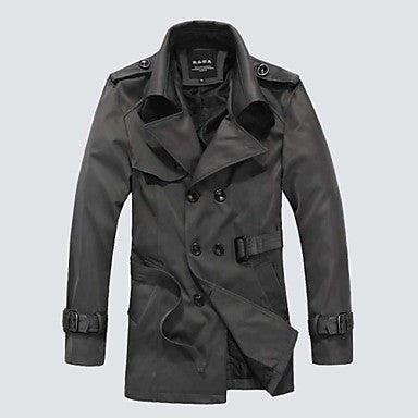 Men's Casual Style Fashion Long Sleeve Trench Coat Outerwear