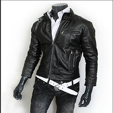 Men's Motorcycles Stand Collar Slim Leisure Leather