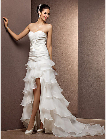 Wedding Dress Sheath Column Two In One Tiered Taffeta and Organza Sweetheart Strapless With Removable Train