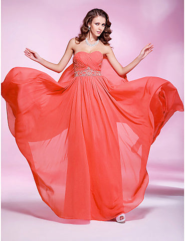Sheath/ Column Sweetheart Floor-length Georgette Evening/Prom Dress