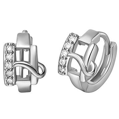 "Gifr for Boyfriend High Quality Silver Plated Letter ""H"" Men's Stud Earrings(1 pr)"