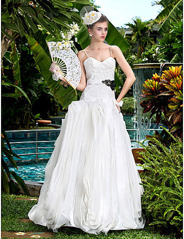 A-line Sweetheart Stretch Satin Floor-length Wedding Dresses