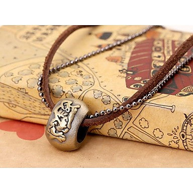 European Vintage Ring Leather Pandant Necklace(1pc)