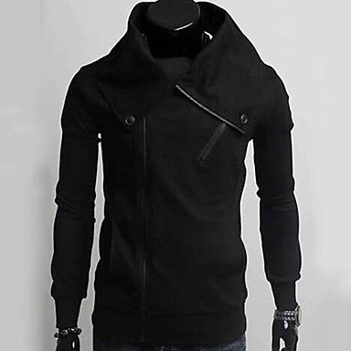 Men's Fashion Diagonal Zipper Simple Jacket Coat