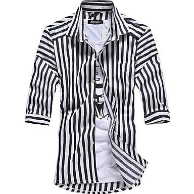 Men's Striped Seven Point Sleeve Shirt