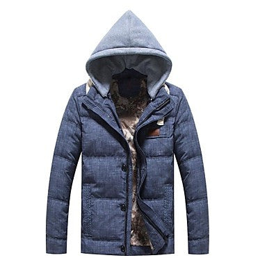 Men's Fleece Cotton Lining down Long Sleeve Hoodie Coat