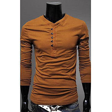 Men's Casual Single Breast Long Sleeve Round Neck T Shirt