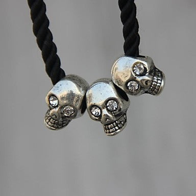 Fashion (Skull Necklace Pendant) Silver Alloy Inlaying Artificial Gem / Half Gem Rope Tie (Silver)(1 Pc)