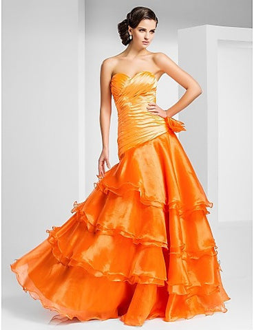 A-line Sweetheart Floor-length Organza Evening/Prom Dress With Side Draping And Tiers