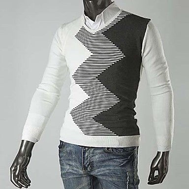 Men's New Wave Pattern Color Matching V Slim Sleeve Collar Sweater