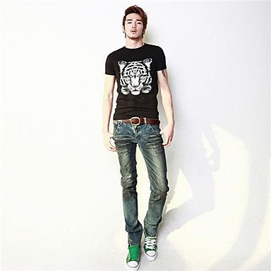 Men's Personality Style Tiger Pattern Short-Sleeve Pure Cotton T-shirt