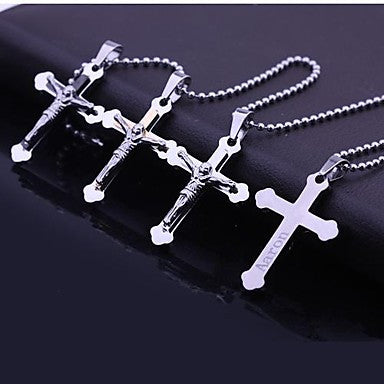 Personalized Gift Jesus Cross Shaped Engraved Pendant Necklace Men's Jewelry (Within 10 Characters)\