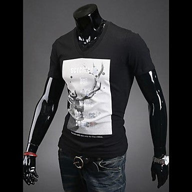 Men's Round Neck Printing Deer T-shirt