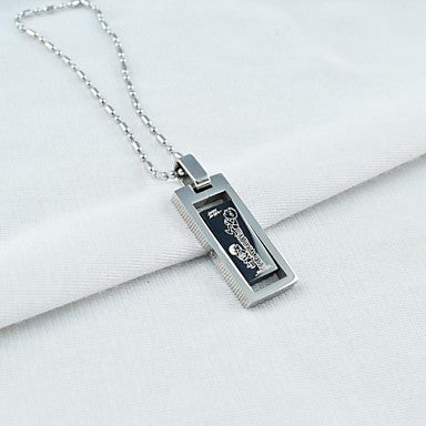 Fashion Men's Titanium Steel Pendant Rotatable Necklace