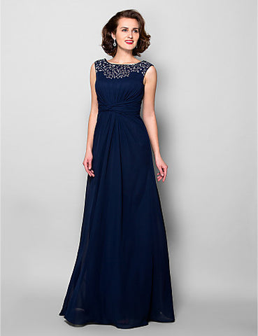 A-line Jewel Floor-length Chiffon Mother of the Bride Dress