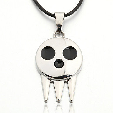 Men's Zinc Alloy Little Ghost Black Rope Necklace Pendant