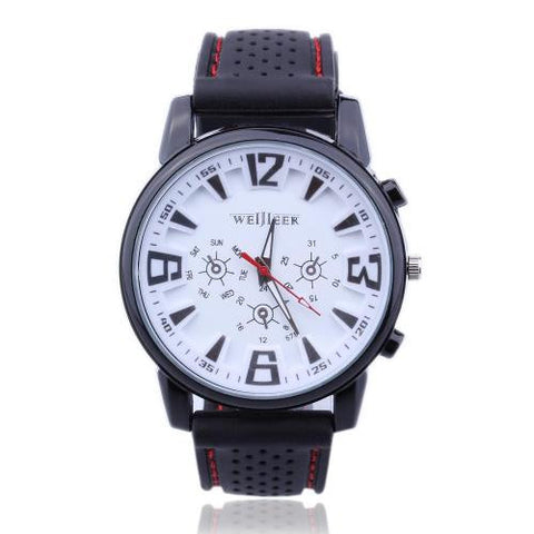 Men Gents Sports Black Silicone Gel Band Quartz Wrist Watch