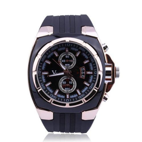 Men Luxury Dial Black Rubber Band Quartz Sports Wrist Watch