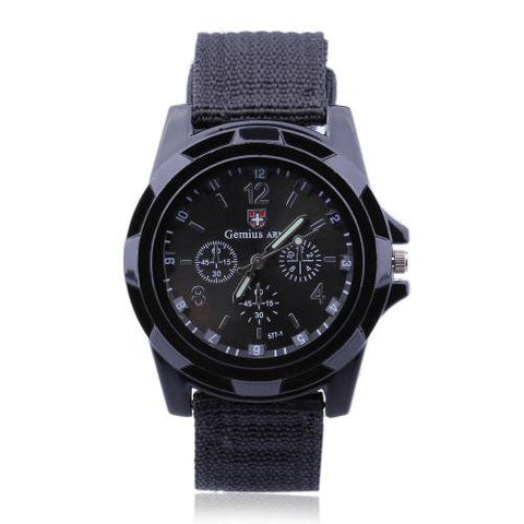 Men Gents Sports Black Nylon Band Big Dial Quartz Wrist Watch