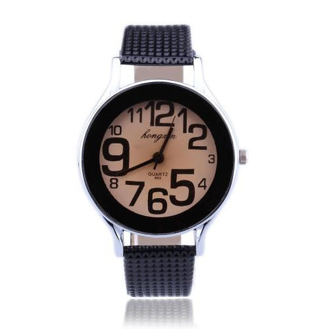 Men Women Black Leather Band Arabic Number Dial Quartz Sports Wrist Watch