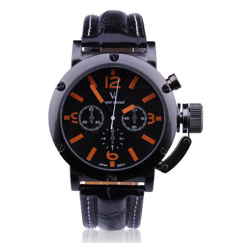 Men Black Leather Strap Orange Number Dial Wristwatch