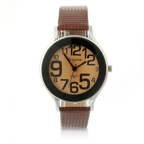 Brown Leather Band Quartz Movement Sport Wristwatch Wrist Watch