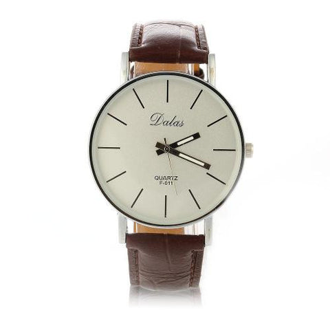 Quartz Movement Wrist Watch White Face Mens Gift Fashion Business elegance