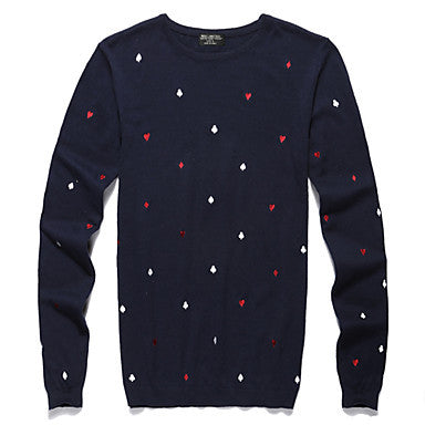 Men's Cotton Pocka Dot Round Collar Knit Wear