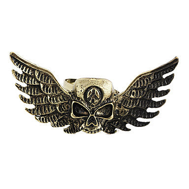 Gothic Skull With Wings Unisex Bronze Alloy Statement Rings(1 Pc)