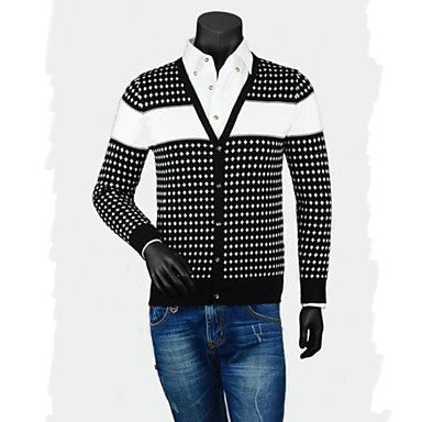 Men's Classic Contrast Color Casual Traveling V - Neck Long Sleeve Jacquard Cardigan Sweater