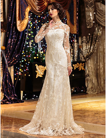 A-line/Princess High Neck Sweep/Brush Train Lace Wedding Dress(2232021)