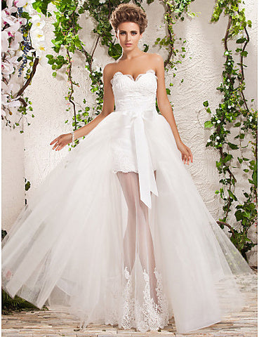 Wedding Dress A Line Floor Length Two In One Tulle Sweetheart and Strapless With Lace Appliques and Removable Train