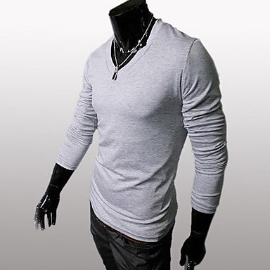 Men's Slim Fit V Neck Long Sleeve T Shirt