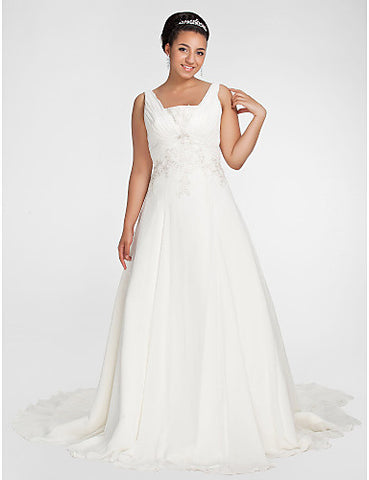 Wedding Dress A Line Chapel Train Chiffon Square Plus Size With Criss Cross and Appliques