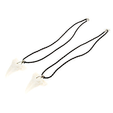 Shark Tooth Shaped Cattle Bone Necklaces (1Pair)
