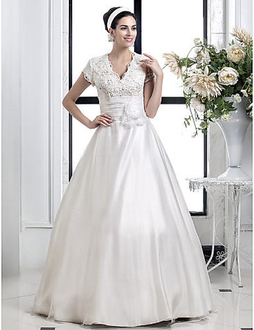 A-line Princess V-neck Lace And Organza wedding dress(567941)