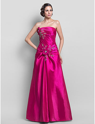 A-line Princess Strapless Taffeta Floor-length Evening/Prom Dress