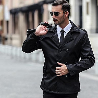 Men's Korean Style Slim Lapel Long Coat