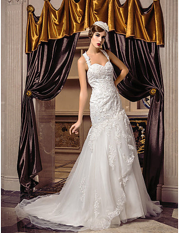 Trumpet/Mermaid Straps Court Train Tulle Wedding Dress (519006)