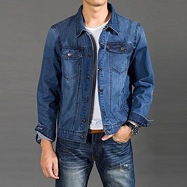 Men's New Fashion Single Breasted Turn-down Collar Denim Jacket