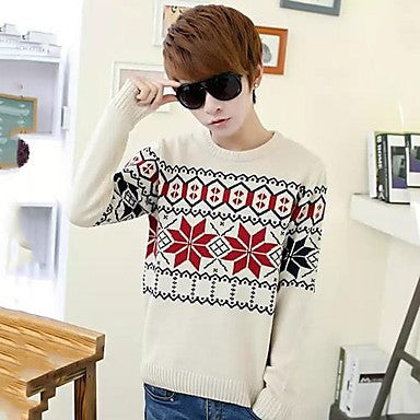 Men's Geometric Floral Print Sweater